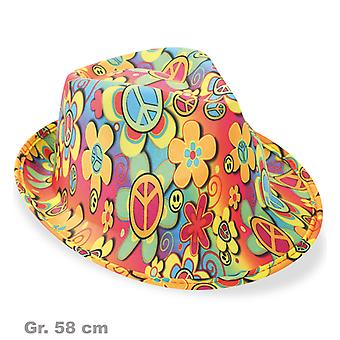 Trilby hippie peace 60s stained Hat