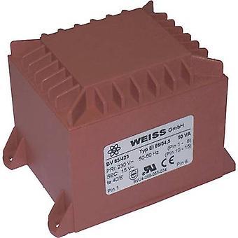 PCB mount transformer 1 x 230 V 1 x 15 V AC 50 VA 3.34 A 85/423 Weiss Elektrotechnik