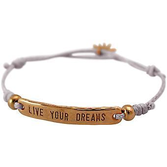 Gemshine - senhoras - pulseira - gravada - viver seus sonhos - rosa dourados - cinza claro