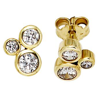 Earrings TRIO 333 gold yellow gold with 6 cubic zirconia earring gold