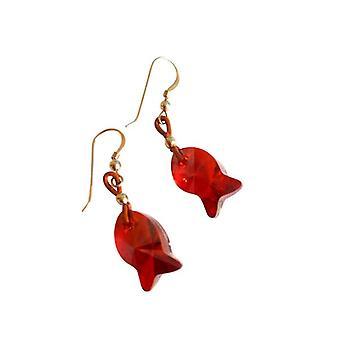 Örhänge fisk röd CONNIE med Crystal element läder guld pläterad
