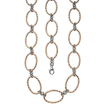 Necklace chain 925 sterling silver bicolor gold plated 80 cm carabiner