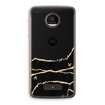 Motorola Moto Z Force Transparent Case (Soft) - Gold marble