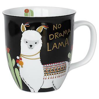 Lama Tasse No Drama Lama  weiß, bedruckt, aus Porzellan, Fassungsvermögen ca. 400 ml..