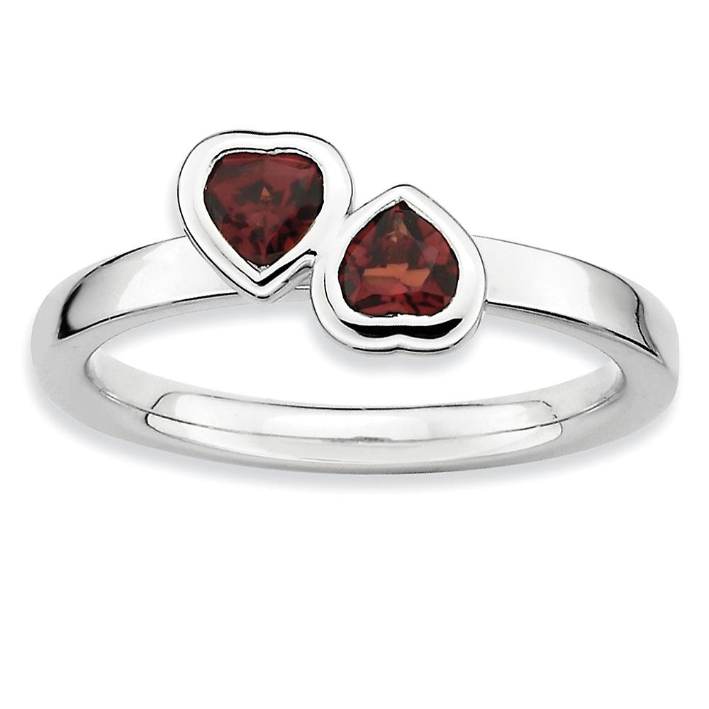 Sterling argent Bezel Polished Rhodium-plated Stackable Expressions Garnet Double Heart Ring - Ring Taille  5 to 10