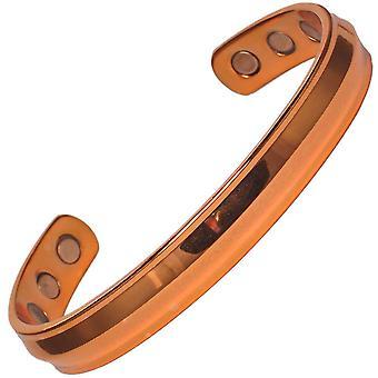 Aquiles MPS® pulido brazalete magnético de cobre puro con 6 imanes + bolsa de regalo