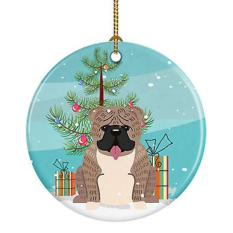 Merry Christmas Tree English Bulldog Grey Brindle  Ceramic Ornament