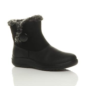 Ajvani womens low heel flat fur lined trim button zip winter ankle boots