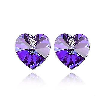Österrikiska Crystal Stone och element Purple Heart formade örhängen