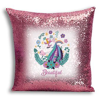 i-Tronixs - Unicorn Printed Design Rose Gold Sequin Cushion / Pillow Cover for Home Decor - 13