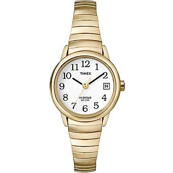 Timex Easy Reader klassische analoge Damenuhr mit erweiterbaren Gold Armband