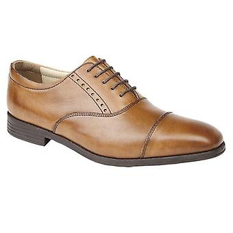 Mens Leather Oxford Capped Lace Up Smart Office Dress Formal Shoes