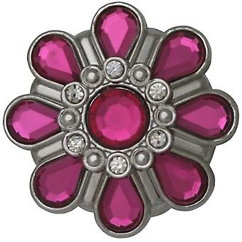 Henley Glamour Pink Crystal Flower Silver Tone Dress Ring Watch HR003.5