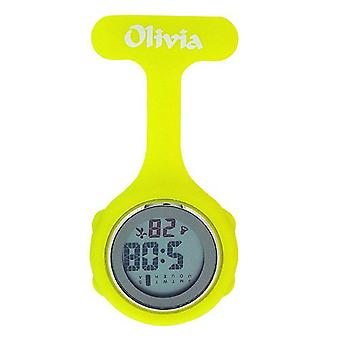 Olivia Collection Yellow Digital Multi Function Silicone Nurses Fob Watch TOC144