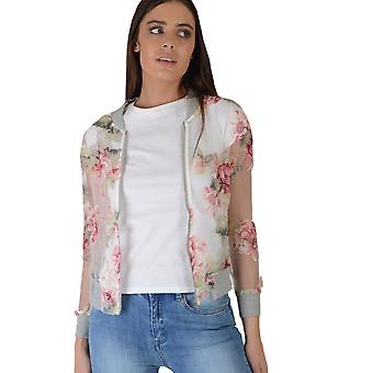 Lovemystyle White Mesh Bomber Jacket With Pink Florals