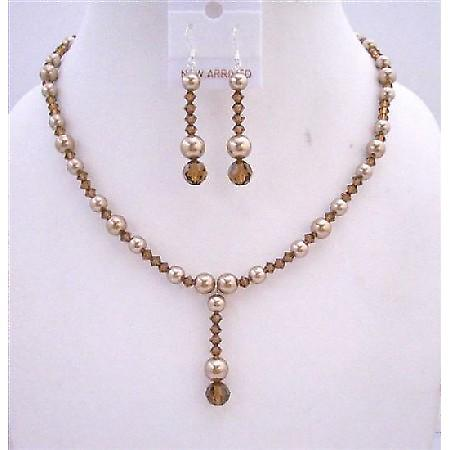 Bronze Pearls Swarovski Smoked Topaz Crystal Drop Down Wedding Jewelry