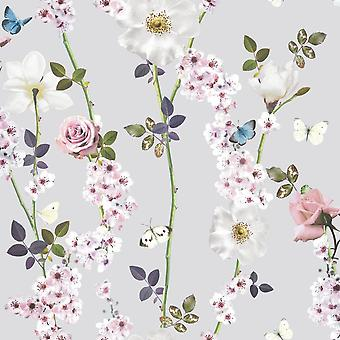 Flower Floral Butterflies Roses Leaves Wallpaper Dreamscape Heather Arthouse