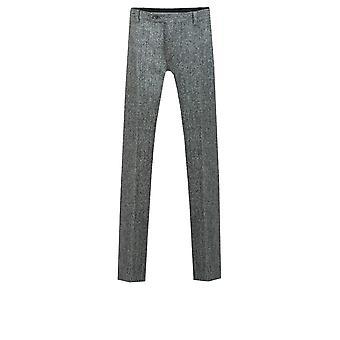 Harris Tweed Mens grijs pak broek Fit Regular 100% wol visgraat
