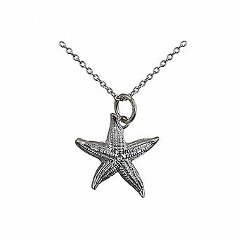 Silver 19x19mm Starfish Pendant with a rolo Chain 14 inches Only Suitable for Children