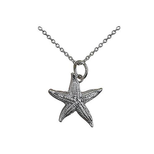 Silver 19x19mm Starfish Pendant with a Rolo Chain 18 inches