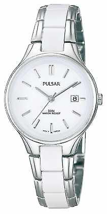 Pulsar Womens' White Ceramic & Stainless Steel White Dial PH7267X1 Watch