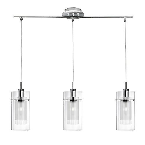 Searchlight 3303-3CC Duo 1 Modern 3 Light Pendant Bar With Clear And Frosted Glass