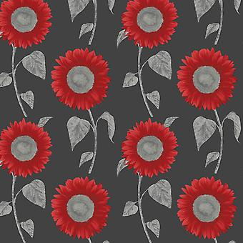 Sunflower Metallic Wallpaper Leaf Floral Black Red Silver Feature Fine Decor