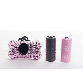 Leichte rosa Kristall Strass Knochen geformt Waste Bag Dispenser