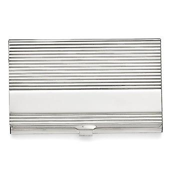 Men's Stainless Steel Polished and Grooved Card Holder - Engravable Gift Item