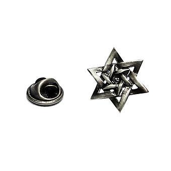 Star of David English Pewter Lapel Pin Badge, Jewish Religion