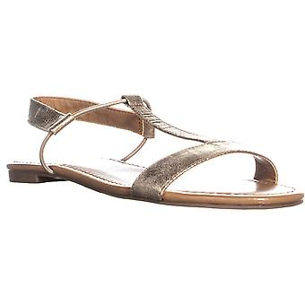 Style & Co. Womens Kristee Faux Leather T-Strap Sandals Gold 6 Medium (B,M)