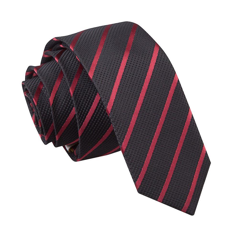 Black & Burgundy Single Stripe Skinny Tie