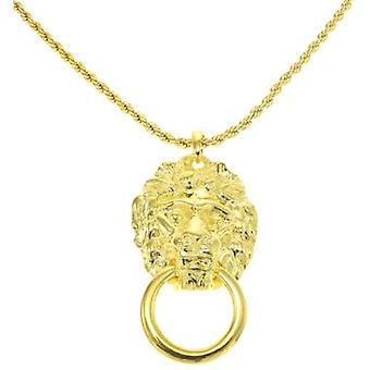 Kenneth Jay Lane Gold Plated Lion Pendant on Chain Necklace