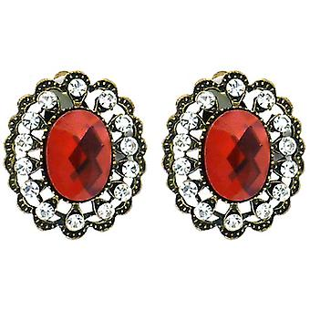 Clip On Earrings Store Large Antique Gold Filigree & Red Oval Facet Crystal Clip