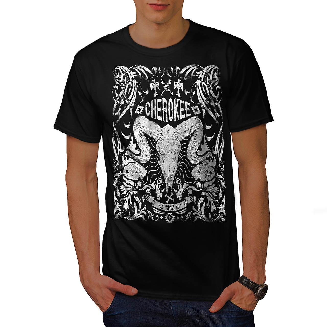 Native Culture Skull Animal Head Men Black T-shirt | Wellcoda