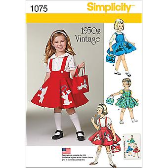 SIMPLICITY CHILD'S JUMPER, SKIRT AND BAG-3-4-5-6-7-8 US1075A
