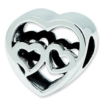 Sterling Silver Antique finish Reflections Two Hearts Bead Charm