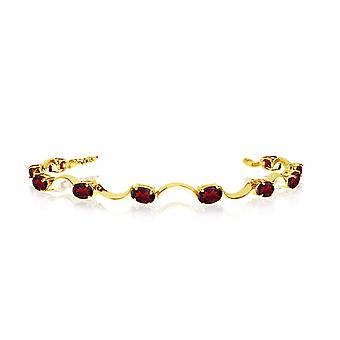 14K Yellow Gold Oval Garnet Curved Bar Bracelet