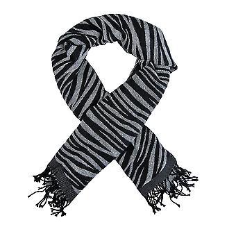 黒/白のゼブラ ストライプ スカーフ ショールの縁
