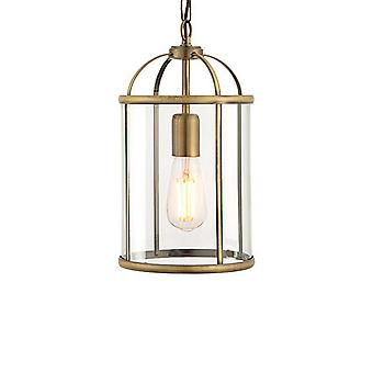 ENDON 69454 Lambeth 1 Light Ceiling Pendant-Antique Brass-Clear Glass