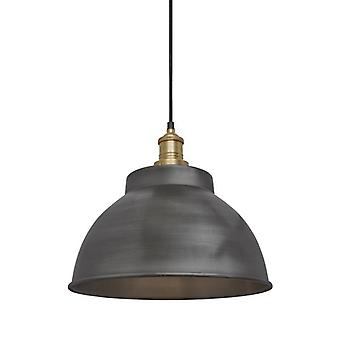 Brooklyn Vintage Metal Dome Pendant Light - Dark Pewter - 13