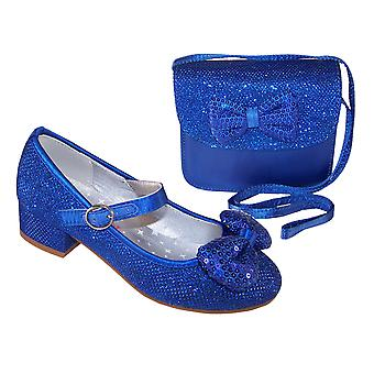 Girls blue sparkly low heeled shoes with matching bag