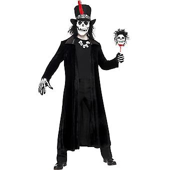 Voodoo man black costume with coat floor Hat mask and chain size M