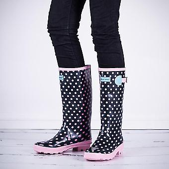Spylovebuy Womens Pink Spot Wyre Valley Wellies Wellington Boots