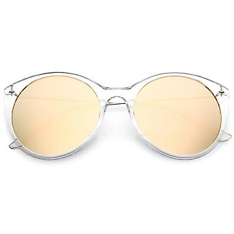 Transparent Cat Eye Sunglasses With Thin Metal Arms And Round Mirrored Flat Lens 56mm