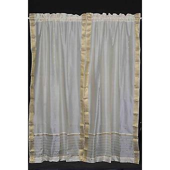 Cream Rod Pocket  Sheer Sari Curtain / Drape / Panel  - Pair