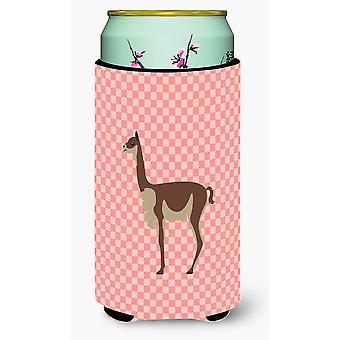 Vicugna or Vicuna Pink Check Tall Boy Beverage Insulator Hugger