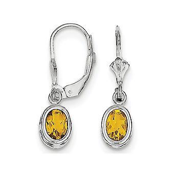 Citrine Drop Oval Earrings 1.50 Carat (ctw) in Sterling Silver