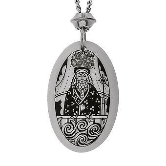 Handmade Saint Brendan Oval Shaped Porcelain Pendant ~ 20 inch Chain