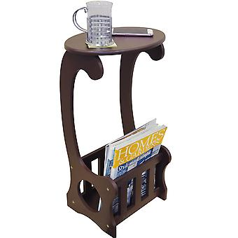 Scroll - Side / End / Bedside Table With Magazine / Book Storage Rack - Dark